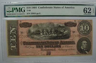 C.S.A. Currency. 1864 $10.00 T-68. Lot 115