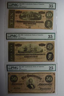 An 1864 PMG Certified C.S.A. Type Note Threesome Lot 112