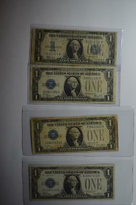 "A Quartet of all different $1.00 ""Funny Back"" Silver Certificates Lot 129"