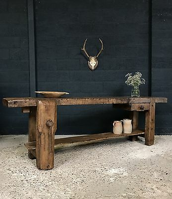 Superb Large Antique French Country Farmhouse Workbench Table Sideboard