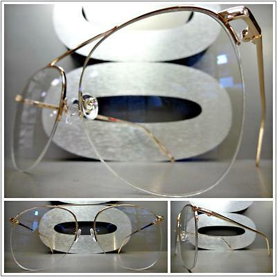 Men or Women OVERSIZE VINTAGE RETRO Style Clear Lens EYE GLASSES Rose Gold Frame