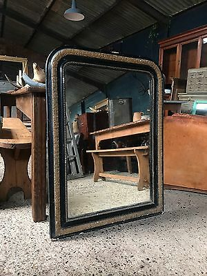 19th Century French Antique Ebonised & Gold Framed Foxed Mirror