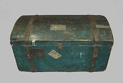 Antique vtg 19th C 1820s Small Dome Top Wooden Chest with Original Blue Paint