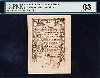 *RARE* CHOICE UNCIRCULATED May 1786 Rhode Island Colonial 6p Note! PMG 63! 7751