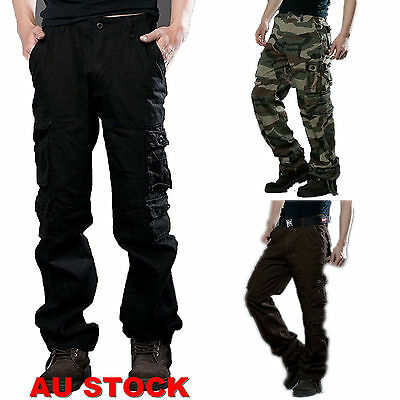 Men's Military Army Cargo Pants Camo Combat Work Casual Long Trousers Camouflage