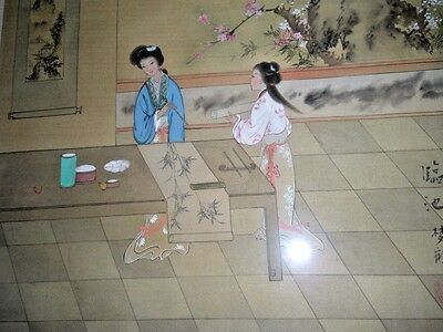 Chinese Court Lady & Slave Scroll, Vtg Signed Framed Painting On Silk