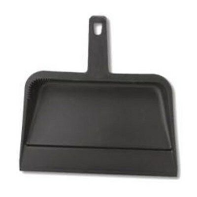 "Industrial-Grade Indestructible 12"" Wide Plastic Black Dust Pan -- Lasts Longer"