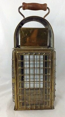 """Vintage Decorative Glass And Brass - Candle Holder  With Wood Handle 14.5""""Tall"""