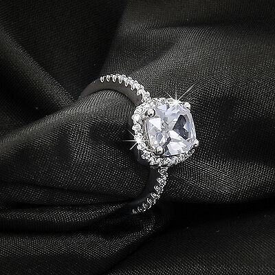 Women's Wedding Engagement RING 2 Carat CUSHION CUT White Gold Plated SIZE 4-9