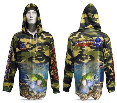 New Killer Crank Murray Cod Fishing Shirt With Hood. All Mens Sizes +Kids 6 & 12