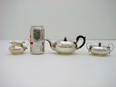 3 Pc Dutch Dresden German Sterling Silver Egoist Tea set Royal Armorial Crest