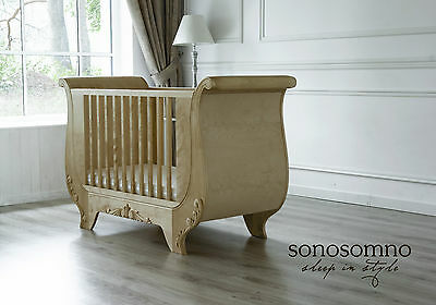 Luxury Cot Bed, Solid birch wood, Nursery furniture, Safety certified, Stylish