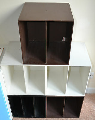 PALASET 5 Storage Cubes White Black Brown Records Habitat Treston 1970s Vintage