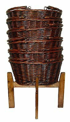 Wicker Shopping Baskets Folding Handles & Display Stand  - LARGE VINTAGE BROWN