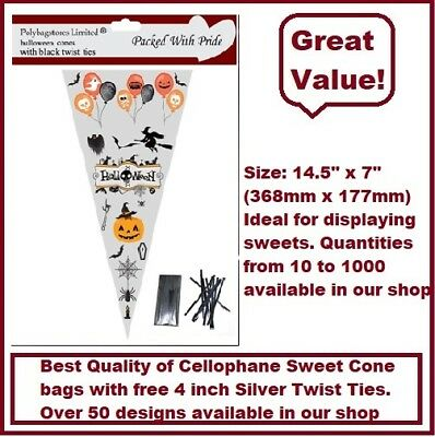 HALLOWEEN - Large Cone Bags / Party Bags / Sweets / Cello Bags