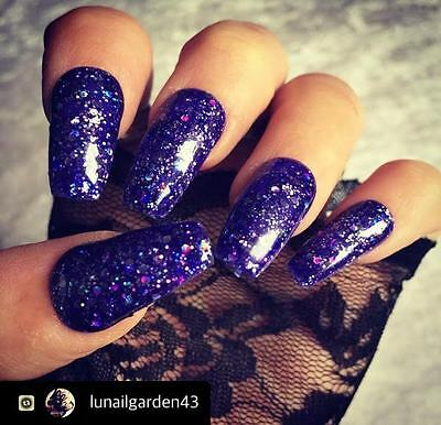 Hand Painted False Nails Purple Glitter Coffin Full Cover Tips - Press On Nails