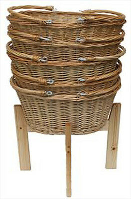 Wicker Shopping Baskets Folding Handles & Wooden Shopping Display Stand - LARGE