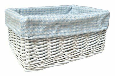 WHITE WICKER BASKET Nursery Storage Box Gift Hamper & BLUE GINGHAM Cotton Lining