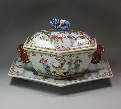 Antique Chinese hexagonal tureen cover and stand, Qianlong (1736-95)