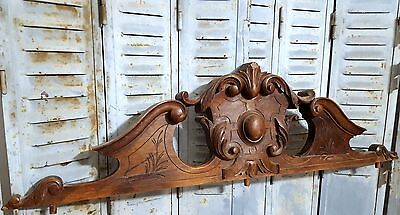 CARVED WOOD PEDIMENT HUGE ANTIQUE FRENCH WEATHERED SALVAGED CARVING CREST 19 th