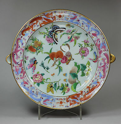Antique Chinese Canton porcelain warming plate, Daoguang (1821-50)