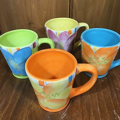 Noble Excellence SUNSET GROVE Coffee Mug Hibiscus SET OF 4 MUGS