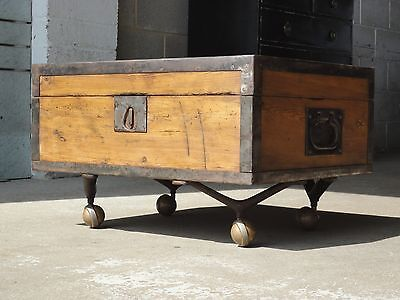 Vintage Antique Old Pine Chest Box Coffee Table With Industrial Wheels