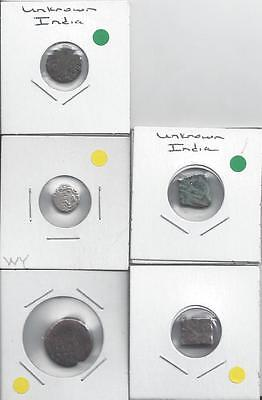 5 DIFFERENT UNKNOWN COINS from ANCIENT INDIA (Lot #1)