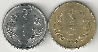 2 DIFFERENT COINS from INDIA - 1 & 5 RUPEE (BOTH DATING 2013N)