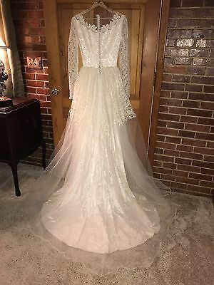 Antique Vtg Victorian Wedding Dress Lace Tulle Long Sleeve Buttons Bridal Gown