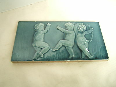Antique Tile Plaque 3 Putti At Play Blue Glaze