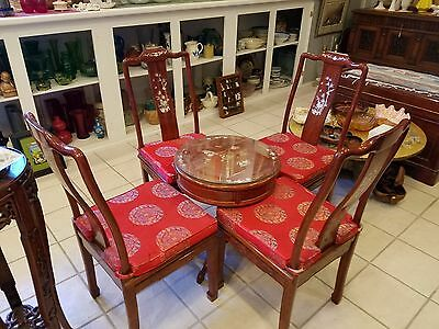 Antique Chinese Carved Rosewood Mother Of Pearl Table & Chairs