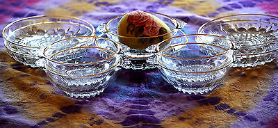 Lot of 10 Vintage Blown Clear Glass Bowls & Plates w Gold Trim & Bubble Crystal