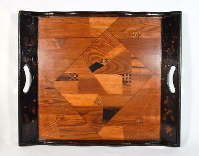 Antique Japanese Marquetry Wooden Tray c1910s 50cm by 42.5cm
