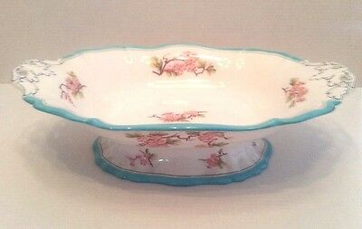 19thc Antique Minton Pink Flowers Platter on Pedestal M & H LQQK!!!!
