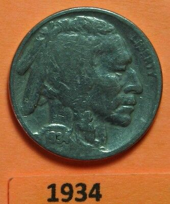 1934 US Buffalo Nickel in Very Good Condition - Price per Each Coin