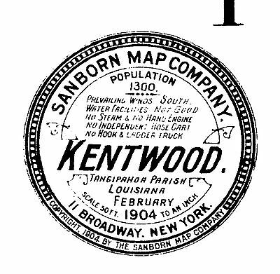 Kentwood, Louisiana~Sanborn Map© sheets made in 1904 with 4 maps on a CD
