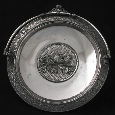 Silver Plate Meriden Cake Basket with birds and flowers c 1870