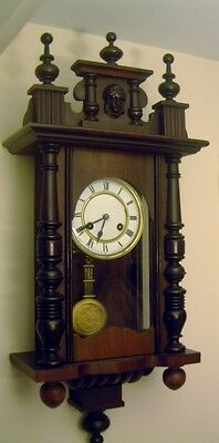 Wall Clock Small Vienna,Chimes,Sprung Wound,1900,Wooden Finials,