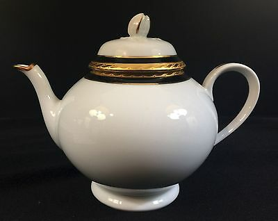Tiffany & Co.--France--Limoges Teapot--White W / Gold & Cobalt Trim--Buy It Now!
