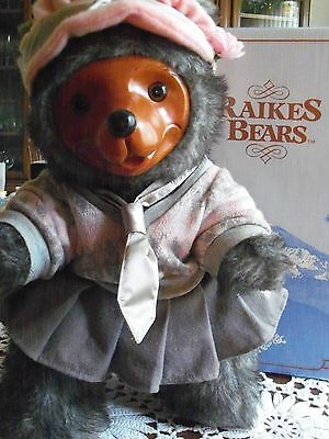 Reika Bear Daisy 1980's wood face doll 15 inches grey fur