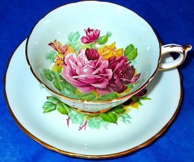 Paragon RARE Humongous Burgundy Red, Pink and Yellow Roses Cup & Saucer