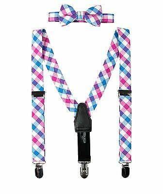 Spring Notion Baby Boys Cotton Suspender and Bow Tie Gift Set Blue-Pink Small