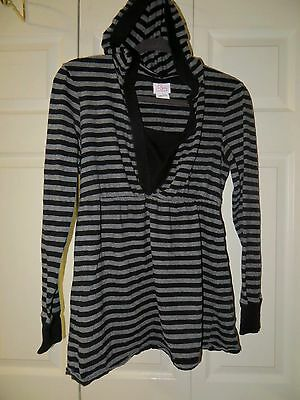 Motherhood  Oh Baby  Black / Gray  Striped  Hooded  Long Sleeve  Top  Size  L