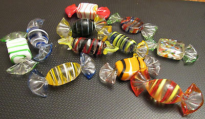 Vintage Fully Glass Color Wrapped Hard Candy 11 Pcs
