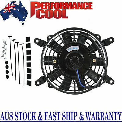"""7"""" Inch 12V Volt Electric Cooling Fan Thermo Fan+Mounting Kits High-per"""