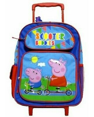 """Peppa the Pig 16"""" Scooter Buddies Rolling Backpack with two compartments-New!"""