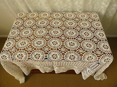 Vintage lace table cloth white wedding party high tea lacy dining linen