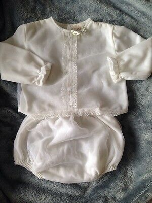 Vintage Desinger Nylon Baby Babies Dress 2 Piece Outfit Fleece Lined Girl Or Boy