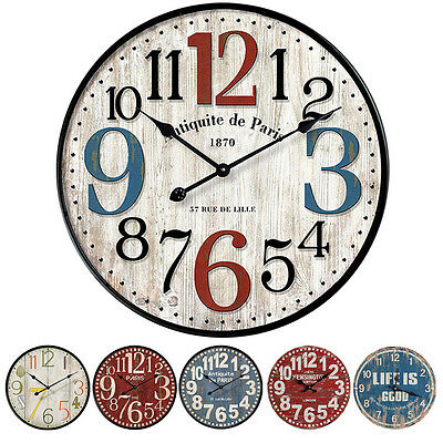 12inch Vintage Wooden Wall Clock Shabby Chic Rustic Kitchen Home Antique Style